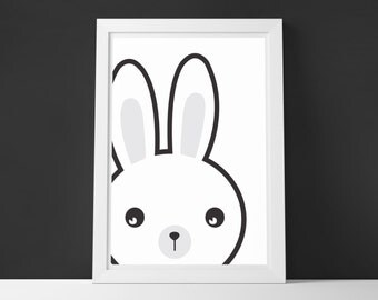 Peeping Bunny Art Print, Wall Art, Home Décor, Cute Art Print, Kids Room Decor, Scandinavian, Monochrome, Nursery decor