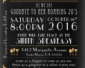 Roaring 1920's Speakeasy Birthday Invitation for Adults - 1920's Party - Speakeasy - Birthday Party - Party Invitation - Turning 30 Invite