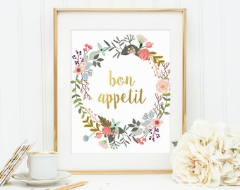 Kitchen Print, Bon Appetit, Gold Letter Print, Restaurant Print, Kitchen Art, Golden Decor, Kitchen Wall Art, Kitchen Decor, Franch Quote