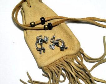 Vintage Sterling Silver Earrings Native American Signed Kokopelli Southwestern  Earrings Stud Fertility Jewelry