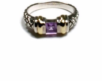 Amethyst Ring Size 6 Designer Ring Silver and 14K Gold Stacking Ring Purple February Birthstone Ring  Vintage