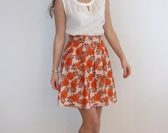 Orange Skirt, High Waisted Skirt, Pleated Skirt, Flower Skirt, Print Skirt
