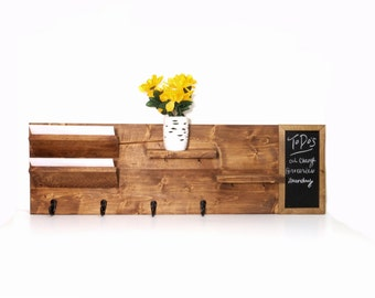 Entryway Organizer with Chalkboard, Wall Mount Pine Wood Mail Organizer, Sunglasses and Key Storage, Entry Way Coat Rack