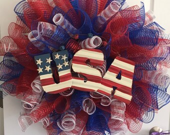 Large Multi-Color Deco Mesh Patriotic Wreath - High Quality Material! Handmade