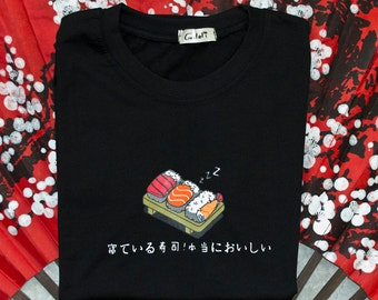 KAWAII t-shirts in black cotton with Japanese kanji nigiri sashimi sushi t shirt tshirt Japan