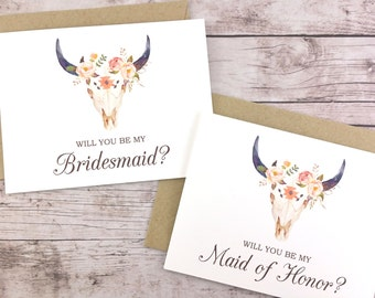 SET OF Will You Be My Bridesmaid Cards, Maid of Honor Cards, Flower Girl Cards, Matron of Honor Cards - (FPS0010)