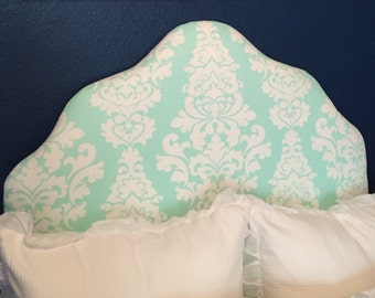 Twin Size Upholstered Headboard in Turquoise