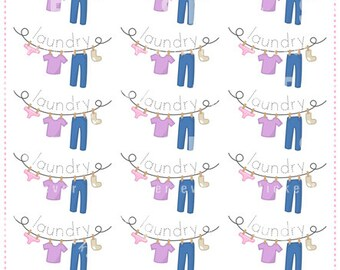 Laundry Time Clothes Line Planner Stickers for Erin Condren, Happy Planner, Plum Planner, Passion Planner (#27)