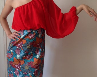 deadstock almatrichi asymmetrical dress in red and floral pattern