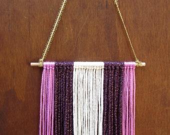 Boho Wall Hanging - Purple, lavender and cream - Rustic wall decor - Bohemian decor- Bohemian wall art -Bow holder -Bow organizer- Boho baby