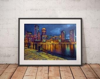 Boston At Night Print, Boston Skyline Painting, Boston artwork, city lights painting, boston harbor painting, rowes wharf, fan pier park