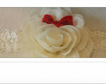 Ivory lace and flower holiday headband