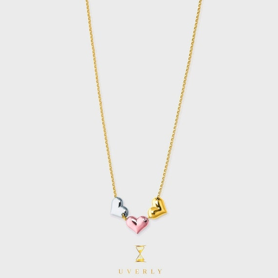 "14k Solid Yellow White Rose Gold Tri Color ""Love Collection"" Heart Charm Necklace"