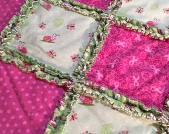 """Handmade Rag patchwork quilt for Breast cancer Awareness, 51"""" x 51"""" by SewphistiQuiltz"""