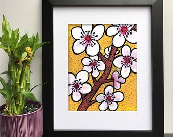 Cherry Blossoms Wall Art Print - Floral Art for Bathroom, Office, Living Room, or Nursery Decor - Flower Decorations, Giclee, Poster