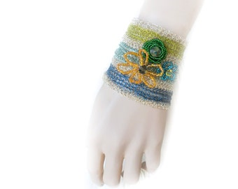 Cuff Bracelet, Wide Cuff, Wire Crochet Bracelet, Wire Crochet, Wire Crochet Jewelry, Boho Chic, Bohemian Cuff, Ready to Ship by Durango Rose