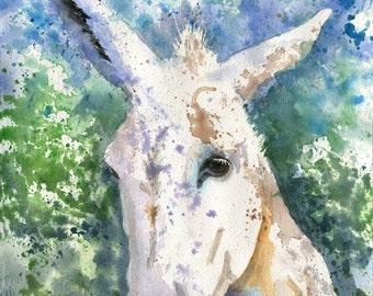 Original White Donkey Mule art watercolor Painting Portrait Nursery Decoration Decor hand made custom painted green splash