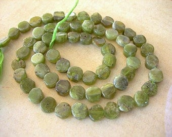 "SALE Vesuvianite Coin Beads 5-7mm Semi Precious Stones full 15"" strand lot of approx 65 Moss Olive Green Vessonite flat disks"