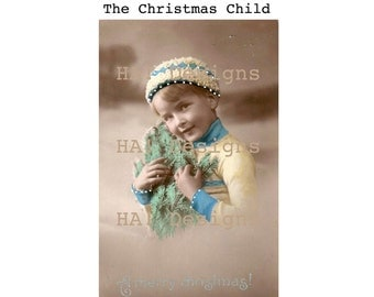 Vintage Photo - The Christmas Child - Instant Download