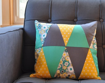 Triangle Patchwork Pillow Cover in Yellow, Aqua & Gray