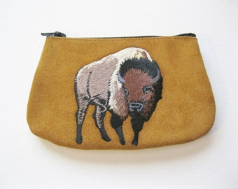 AMERICAN BISON  Coin Purse on Toast Brown Leather Suede