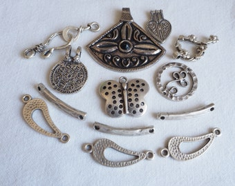 CLEARANCE LOT 14 PCS Pendants, Findings Silver Plated
