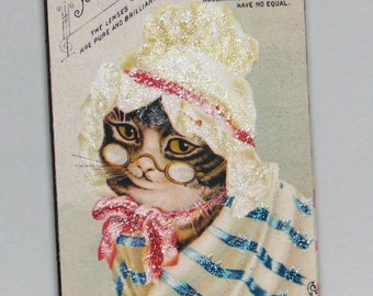 Primitive Style Standing Wood Block Cute Kitty Vintage Ad for Eyeglasses Decoration
