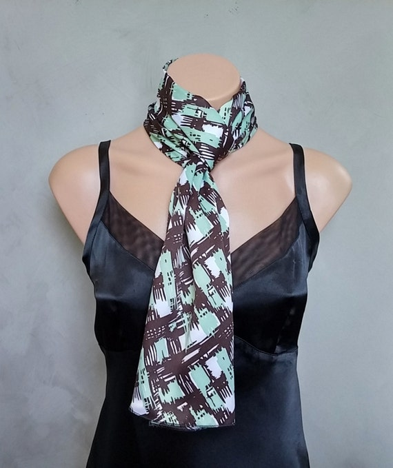 Black Satin Skinny Scarf, Abstract Green Scarf, Abstract Black Scarf, Green Skinny Scarf, Satin Abstract Scarf, Mint Green Skinny Scarf