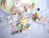 Easter Bunny Porcelain Figurine with Paint Brushes, Painter's Palette and Painted Eggs, FREE Shipping Within Continental USA