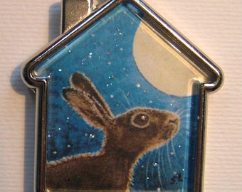MOON GAZING HARE Keyring/handbag charm with print from original painting by Suzanne Le Good