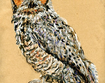 Original Drawing - Great Horned Owl - Bird Art in Charcoal, Chalk Pastel & Ink