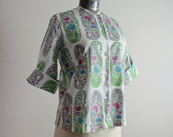 Paisley Shirt • Cotton Blouse • 1960s Top • Button Up Blouse • 60s Top • Cotton Top • Ship 'n Shore Blouse • Paisley Blouse • Paisley Tunic