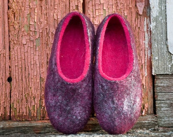 Warm slippers for women from alpaca wool, wool and silk, Pink wool slippers, Women slippers, pink slippers, hygge, comfy shoes, gift for her