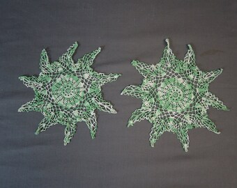 2 Vintage Green Crochet Doilies, Handmade Pointed edges, Vintage 1950s 1960s, 10-1/2 inches