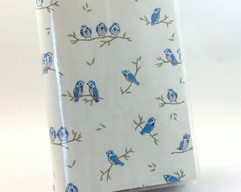 Paperback Book Cover - Reusable, Protective and Adjustable - Small Mass Market Size - Stylish Book Cover with Blue Bird Design