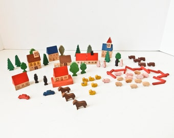 Toy Wood Village Farm Set, 85 Wood Blocks East Germany