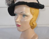 1930s Vintage Black Cellophane Straw Hat with Flowers Chenille and Pink Velvet Ribbon