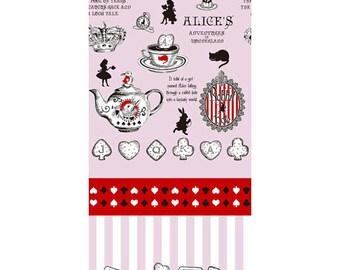 Judie's Cotton Alice in Wonderland - Alice Panel Tea L37-20 pink, Lecien of Japan, 1 yard