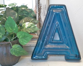 """Theater Marquee Letter A , Large 10"""" Blue Translucent Letter A , Vintage Letter Decor , Retro 50s Drive-In Lettering"""