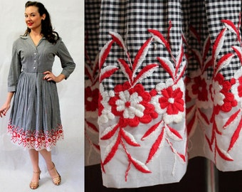 1950s black gingham shirtdress with red embroidered flower border