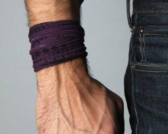 Bracelet For Men, Men's Bracelets, Purple Bracelet, Men's Wrap Bracelet, Gift for Husband, Cuff Bracelet, Guy's Bracelet, Wide Bracelet