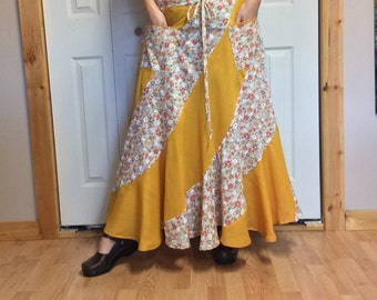 Long Sweep Maxi Plus Size Skirt with Pockets/Bohemian/Hippie/Festival/Folk/Floral/Yellow/Cotton/Long Skirts for Women/Size XL