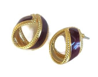Vintage Purple Enamel Hoop Earrings