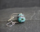 Blue Flower Dangle Earrings - Sterling Silver, Riveted Swing, Lampwork Glass, Metalwork Jewellery