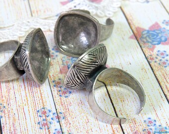 Sterling Silver plated Ring Blank concave setting for 18x18 mm cab , Adjustable band, oxidized rustic ring base ,  vintage , Boho ring