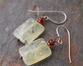 Garnet and Perhnite Earrings