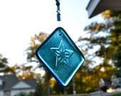 Guiding Star in Blue Fused Glass Suncatcher