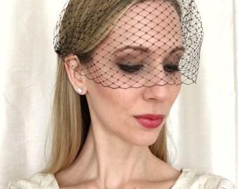BLACK Birdcage Veil Bandeau French Netting, Wedding Veil, Black Veil, Wedding Accessory, Bridal Veil, Wedding Accessory, Bridal Headpiece
