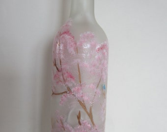 Hand Painted Spring  Flowering Tree  With Blurbirds *** Lighted Bottle **  Lantern **    Bar Light **   Night Light