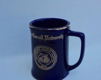 Vintage Mug John Carroll University Dark Blue Gold Trim Ceramic